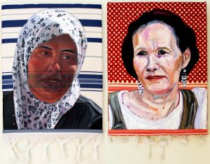 Suha Abu Khdeir and Rachelle Fraenkel (2014) 485 x 305mm and 485 x 305mm Oil on Tallit and Keffiyeh